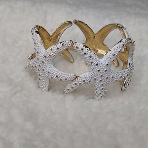 Jewelry - White and Gold Tone Starfish Stretch Bracelet
